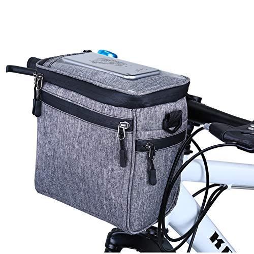 Selighting Impermeable Bolsa de Manillar de Bicicletas de Carretera y de Montaña para Ciclismo, Incluye Correa para el Hombro Extraíble y Cubierta para la Lluvia (Gris-2) ⭐
