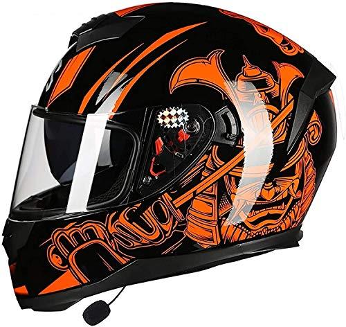 Egrus Bluetooth Integrado Cascos de Motocicleta, Anti-Niebla Doble Visera de Casco de la Moto Mofa Crash ciclomotor Bobber Crucero del Interruptor de Cap Racing Piloto, el Dot/ECE Aprobado L