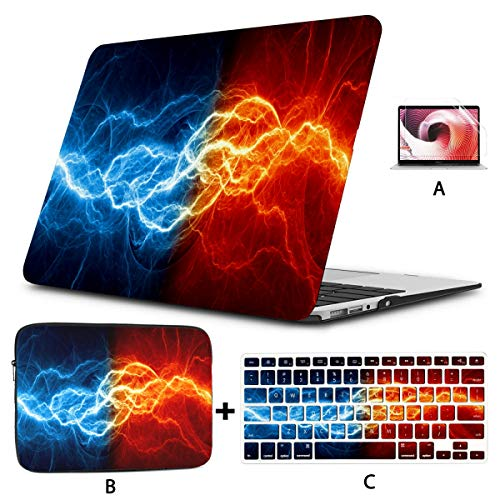 MacBook Pro 2017 Cover Fire Ice Abstract Lightning MacBook Pro 15 Accessories Hard Shell Mac Air 11'/13' Pro 13'/15'/16' with Notebook Sleeve Bag for MacBook 2008-2020 Version