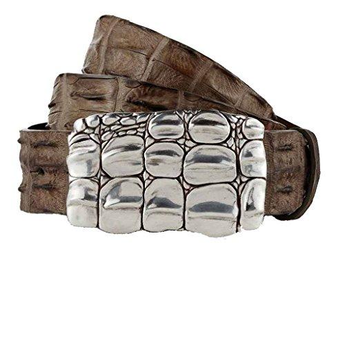 GUT INSTINKT - Cintura Artigianale di Lusso in Vera Pelle di Coccodrillo Italiana - JARRAKAN (Fango, 90cm)