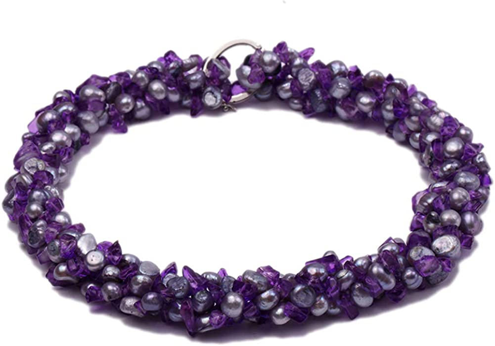 JYX Pearl Double Strand Necklace 6-7mm Purple Flat Freshwater Pearl with Crystal Chips Opera Necklace 40