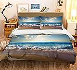 AJ WALLPAPER 3D Sea Waves Ocean Scenery 290 - Juego de funda de edredón para cama individual, reina y king