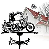 GXXDM Veleta de Metal de Acero Inoxidable, Veleta Anti-UV, Veleta de Adorno para Montar en Motocicleta, Herramienta de medición para Montaje en el Techo, dirección del Viento de fácil us