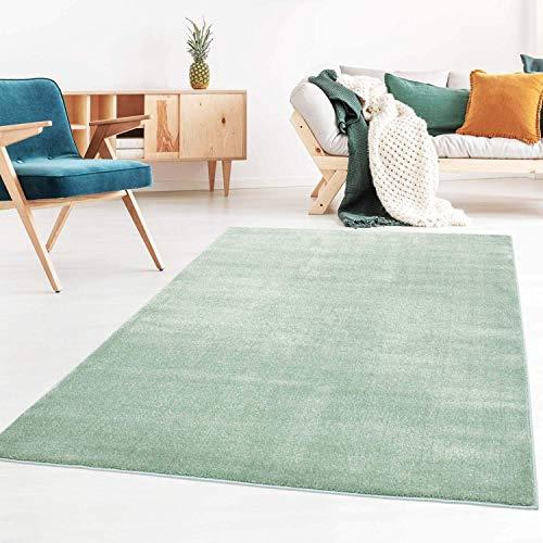 Taracarpet Kurzflor-Designer Uni Teppich extra weich fürs Wohnzimmer, Schlafzimmer, Esszimmer oder Kinderzimmer Gala Mint grün 120x170 cm