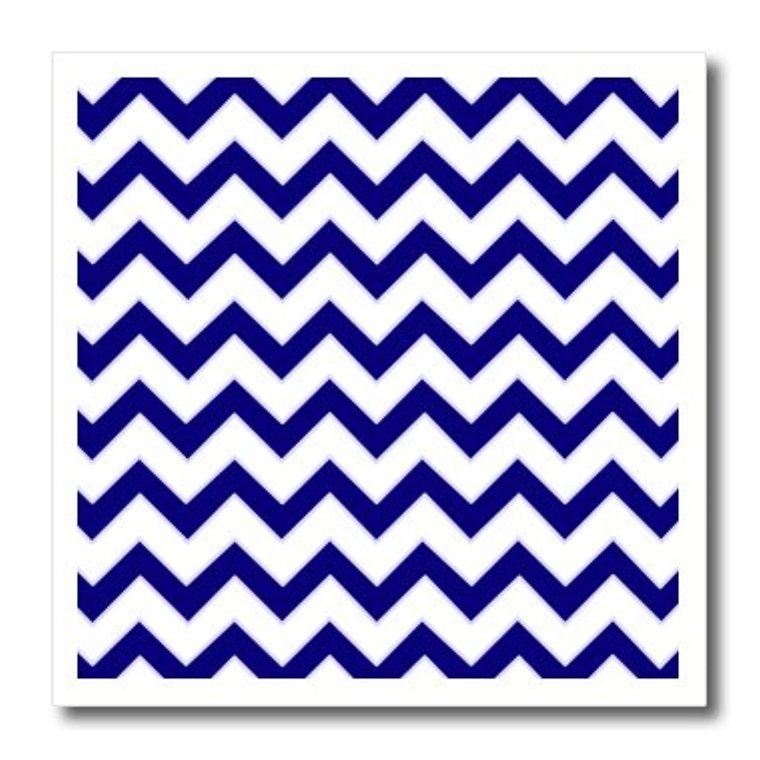3dRose ht_110746_1 Chevron Pattern Navy Blue and White Zigzag-Iron on Heat Transfer for Material, 8 by 8-Inch, White