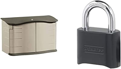 Rubbermaid Horizontal Storage Shed, Small & Master Lock 178D Set Your Own Combination Lock, 1 Pack, Black