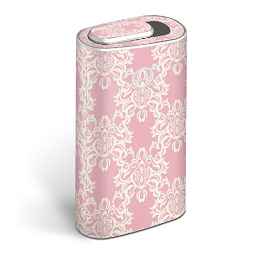 glo グロー グロウ 専用スキンシール 全面 + 天面 + 底面 360°フルセット カバー ケース 保護 フィルム ステッカー デコ アクセサリー 電子たばこ タバコ 煙草 デザイン フラワー ピンク イラスト 模様 005085