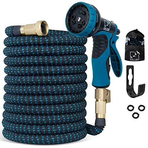 100 Ft Expandable Garden Hose, Upgraded Extra Strength No-Kink, Lightweight Durable Flexible Expanding Water Hose Pipe, 9 Function Spray Nozzle, 3/4 Solid Brass Connectors, Holder, Storage Bag