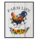 Farmhouse Kitchen, Rooster Decor - Shabby Chic Wall Art Poster Print - Rustic Decorations for Country Kitchen, Home, Apartment - Great Gift for Chef, Cook 8x10, Photo Unframed