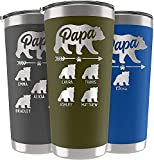 Papa Bear Tumbler, Father's Day Gifts,Birthday Gifts for Dad, Personalized 20 or 30 oz. - 13 Colors - Names up to 6 Cubs, 14 Font Options, Custom Dad Tumbler - Gifts for Dad from Daughter, Son