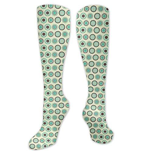 Calcetines de fútbol, diseño de lunares en colores pastel, formas de anillo de azulejos antiguos, calcetines para mujeres y hombres, lo mejor para correr, atletismo, senderismo, viajes, vuelo
