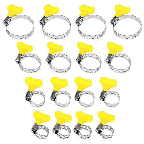 Sinzau Abrazaderas de manguera de acero inoxidable, 9-44 mm, para fijación de manguera, diseño de mango, 16 unidades