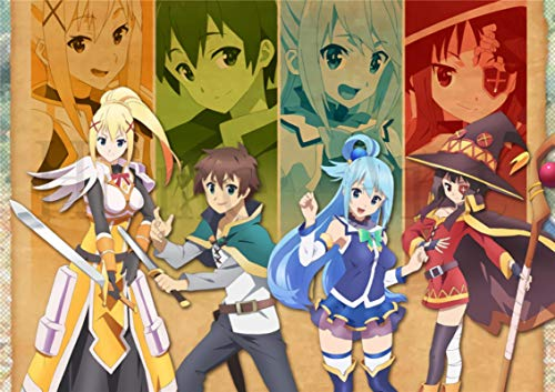 lubenwei KonoSuba God's Blessing on this Wonderful World Poster Canvas Painting Posters and Prints Wall Art Picture for Living Room Home Decor (AY-223) 50x70cm No frame