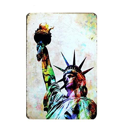 Gfrkklju New York Statue of Liberty Metal Tin Sign Wall Decor Tin Sign Vintage Home Decor Metal Plaque Metal Plate Vintage Metal Poster-20x30cm