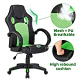 Computer Gaming Chairs Mesh Racing Chair Adjustable Height Office Chair Leather Executive Desk Chair with Armrest Black, Green