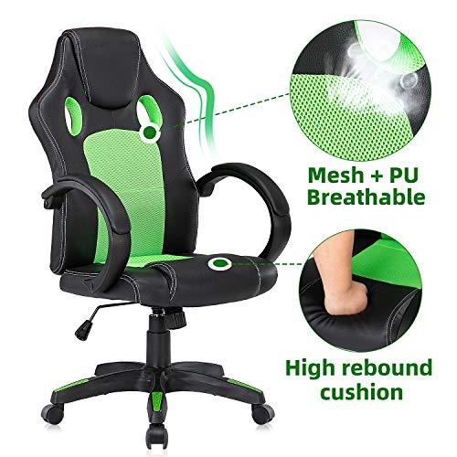 YAMASORO Ergonomischer Schreibtischstuhl Racing Gaming Stuhl aus Netz und Kunstleder für Kinder und Erwachsene