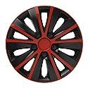 """Fussmatten-Deluxe Radkappen Radzierbelenden 4 Stück im Set universell schwarz - rot 15 Zoll 15"""" R15#Rap# für Fast alle Standard - Stahlfelgen z.B. Chevrolet"""