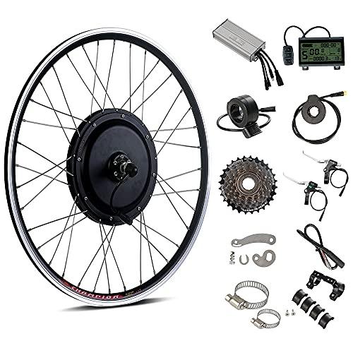 Season 48V 1000W 26″ E-Bike Conversion Kit, Rear Wheel Electric Bicycle Motor Kit with 7S Shimano Freewheel