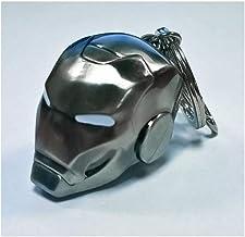 Marvel Schlüsselanhänger Iron Man Helm Mark II silberfarben, aus Metall, mit Minikarabiner.