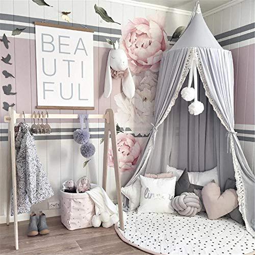 Sänghimmel för barn, babyhölje, lekrumsfotografering, prinsessa, chiffong, hängande myggnät för sovrum, dekoration för säng och sovrum (grå)