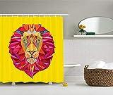 Brandless Zoo Duschvorhang Bunte Tiere Geometrische Diamant Gesicht Lions Mähne Safari Wildlife Thema Bild Stoff Stoff Badezimmer Dekor-180cmX200cm
