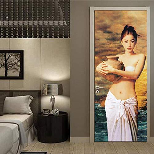 Keshij 3D Carattere klassiek olieverfschilderij, fotobehang, woonkamer, slaapkamer, PVC, zelfklevend, voor deur, 77 x 200 cm