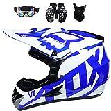 ESASAM Fox - Casco de motocross con gafas (4 unidades), carcasa de ABS,...