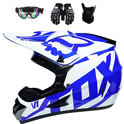 Motocross-Helm Kinder Cross Helme mit Brille Handschuhe Maske, Enduro Helm Sturzhelm ATV Helm für Kinder Sicherheit Schutz (Blau, S(52-53cm))