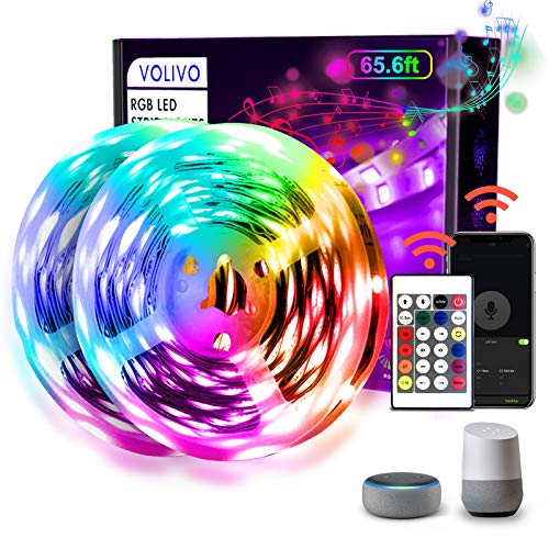65.6ft WiFi LED Strip Lights,VOLIVO Smart LED Light Strip Compatible with Alexa and Google Home,App&Remote&Voice Controlled Music Sync Color Changing RGB 5050 LED Lights for Bedroom Kitchen,Party,TV