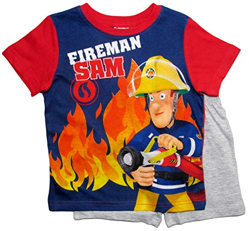 Feuerwehrmann Sam Schlafanzug Jungen Lang Pyjama (Blau-Rot, 98-104)