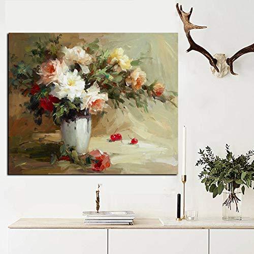 wZUN Flores abstractas de Gran tamaño en florero Pintura al óleo Impresa en Lienzo Cartel de orquídea Simple Arte decoración de Imagen de Pared 60x80 Sin Marco