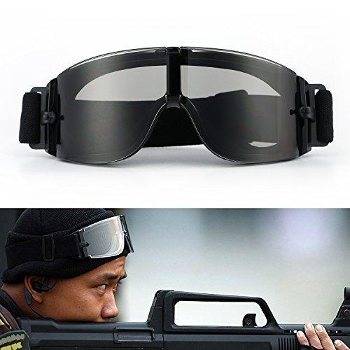 Gafas de ciclismo Gafas de motocicleta ajustables Gafas militares Airsoft con lentes anti-vaho y anti-árabes intercambiables a prueba de viento UV-400 en un estuche de camuflaje