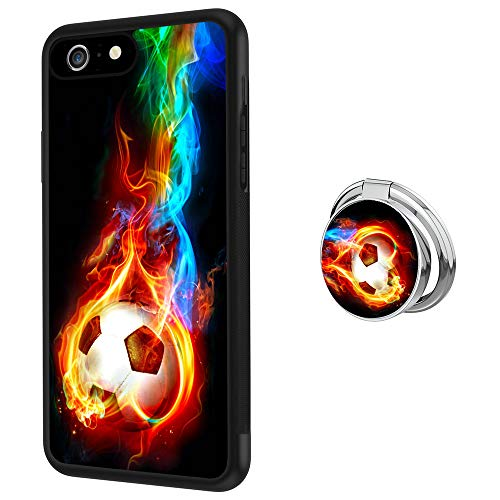 Designed Flame Soccer iPhone 6 Plus Case with Buckle Ring 360° Rotatable Silvery Durable Ring Buckle, TPU Black Antiskid Tread Phone Case for iPhone 6 Plus