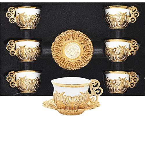 Alisveristime 12-teiliges Set aus türkischen, griechischen, arabischen Kaffee-Espressotassen und Untertassen aus Porzellan (Goldfarbenmischung)