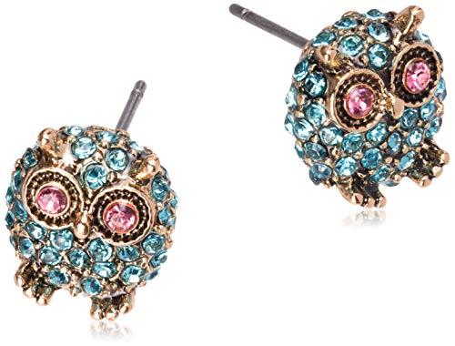 Betsey Johnson Pave Owl Stud Earrings