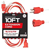 10 Ft Outdoor Candy Cane Extension Cord - 16/3 SJTW Durable Electrical Red & White Cable - Great for Powering Outdoor Christmas Decorations