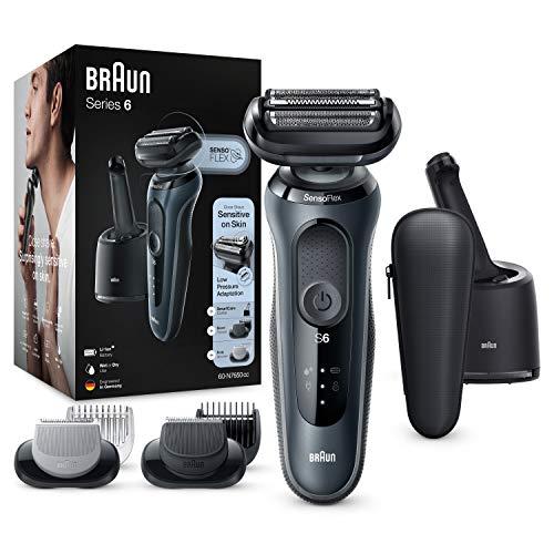 Braun Series 6 60-N7650cc Afeitadora Eléctrica, máquina de afeitar barba hombre de Lámina con Base de Carga, Con Centro De Limpieza SmartCare, 2 Accesorios EasyClick, Gris