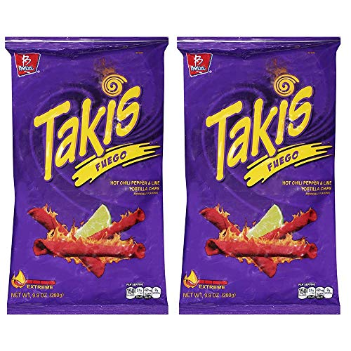 Takis Fuego Hot Chili Pepper & Lime Flavored Corn Snacks(Two 9.9 oz. Bag) Thank You for Using Our Service