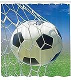 ABAKUHAUS Duschvorhang, Fußball Tor Netz Fußball Spiele Foto Design Feld Gras Ball für Jugendliche & Kinder Druck, Blickdicht aus Stoff mit 12 Ringen Waschbar Langhaltig Hochwertig, 175 X 200 cm