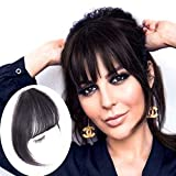 GongXiu Clip in Bangs Real Human Hair Extensions Natural Black Bangs Hair Clip on Fringe Straight Flat Bangs with Temples for Women (Natural Black)