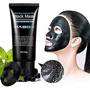 Qbisolo 1pcs 24K Yellow Gold Collagen Facial Face Mask/Bamboo charcoal black mask High Moisture Anti Aging Remove Wrinkle Care Mask Go Blackhead Acne Mask (Bamboo Charcoal Black Mask)