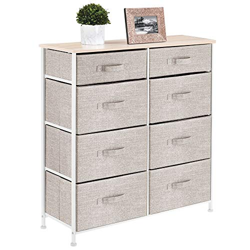 mDesign Vertical Furniture Storage Tower - Sturdy Steel Frame, Easy Pull Fabric Bins - Organizer Unit for Bedroom, Hallway, Entryway, Closets - 8 Drawers - Linen/Natural