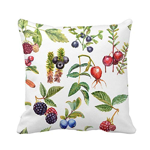 Throw Pillow Cover Acuarela Wild Forest Berries Crowberry Dog Rose Blackberry Funda de Almohada Funda de Almohada Cuadrada Decorativa para el hogar Funda de cojín