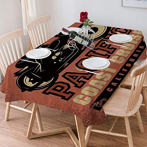 Tablecloth Rectangle Cotton Linen,Adventure,Pacific Coast Cruise California Motorcycle Driving Journe,Waterproof Stain-Resistant Tablecloths Washable Table Cover for Kitchen Dinning Party (140x200 cm)