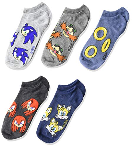 Nintendo boys Sonic 5 Pack No Show Casual Sock, Assorted Neutral, Shoe Size 3-8 US