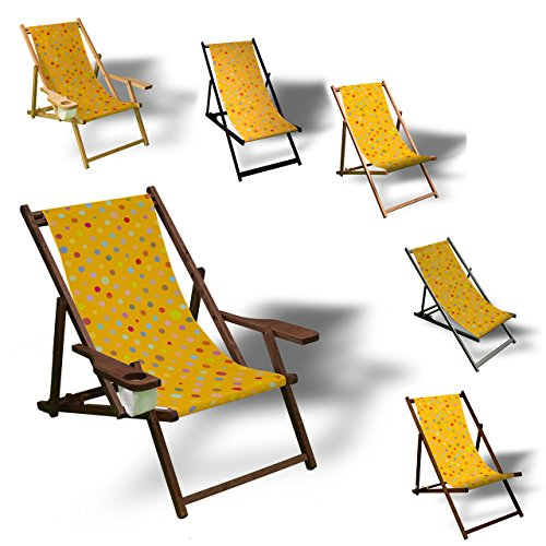 Printalio - Konfetti - Liegestuhl Bedruckt Balkon Garten Sonnenliege Relax Holz Terrasse | Kinderliegestuhl, Natur