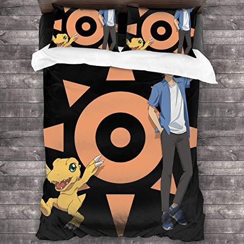 N \ A Digimon Adventure - Juego de cama de 3 piezas, 218,4 x 70, sábana de cama supersuave, 2 fundas de almohada y una funda de edredón