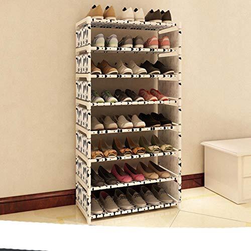 Estante De Zapatos Simple Nonwovens Tubo De Acero Fácil Montado Soporte Soporte De Ahorro De Espacio Zapatos Organizador Estante Inicio Zapatero-Vacas Color 8L, China