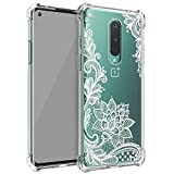 Osophter for Oneplus 8 Case[Not Compatible with Oneplus 8T] Flower Floral for Girls Women Shock-Absorption Flexible TPU Rubber Soft Silicone Cover for One Plus 8(White Lace)