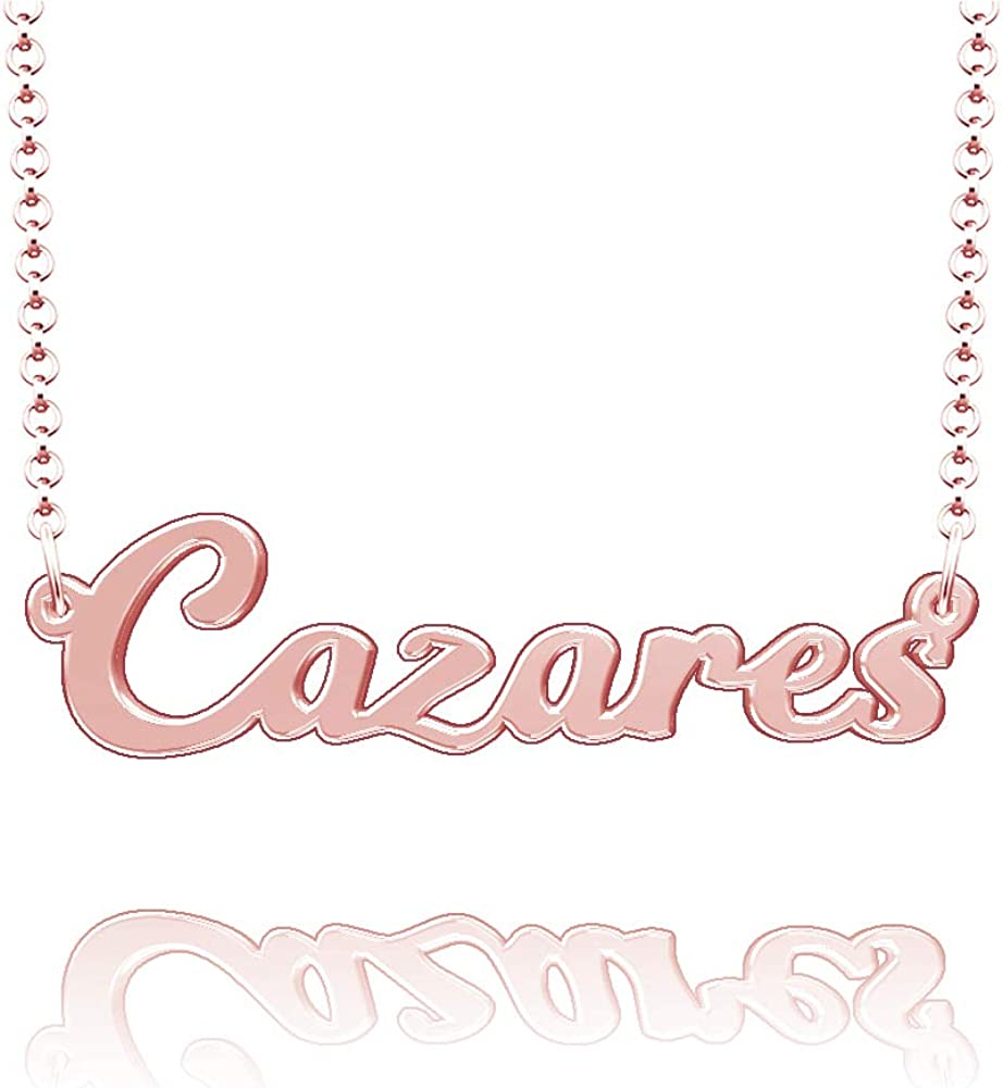 LoEnMe Jewelry Cazares Name Necklace Stainless Steel Plated Custom Made of Last Name Personalized Gift for Family